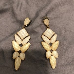 Tan and gold dangle earrings